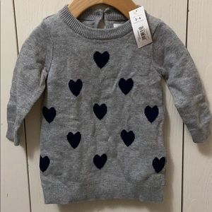 Joe Fresh Grey Sweater Dress with Navy Hearts